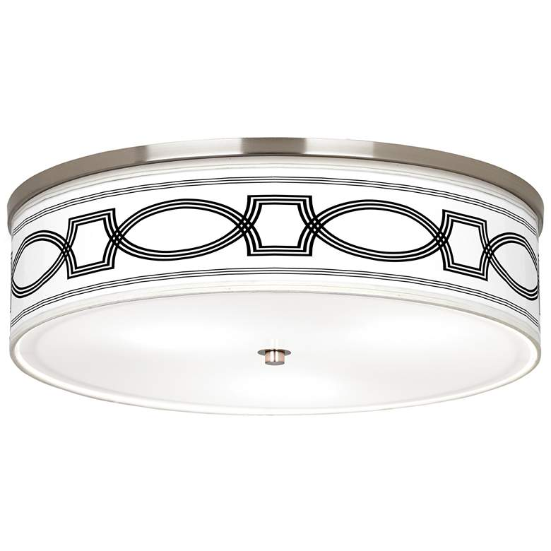 """Concave Giclee Nickel 20 1/4"""" Wide Ceiling Light"""