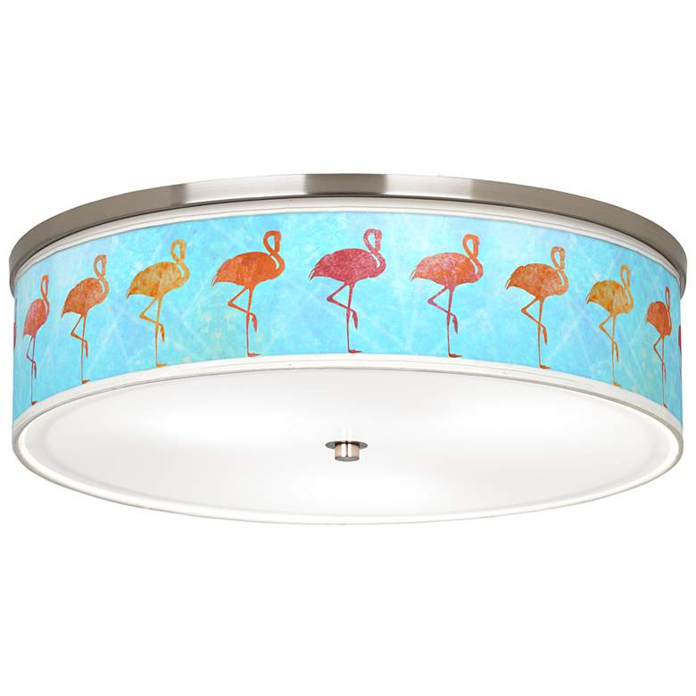 "Flamingo Shade Giclee Nickel 20 1/4"" Wide Ceiling Light"