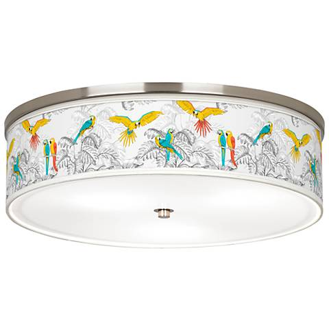 """Macaw Jungle Giclee Nickel 20 1/4"""" Wide Ceiling Light"""