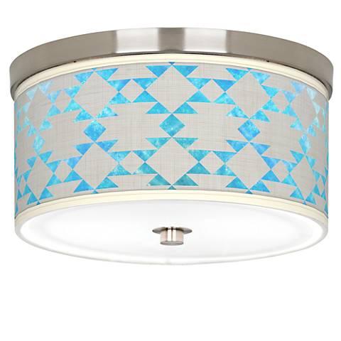 "Desert Aquatic Giclee Nickel 10 1/4"" Wide Ceiling Light"