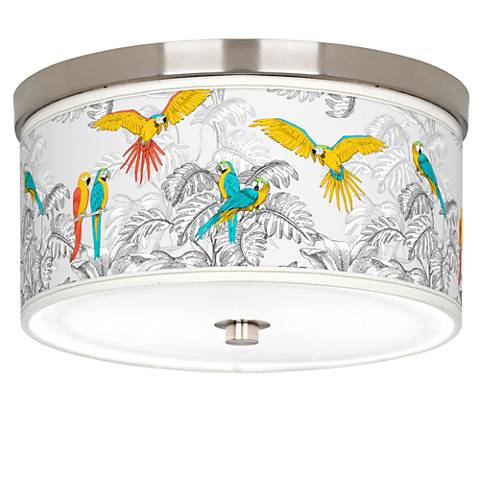 """Macaw Jungle Giclee Nickel 10 1/4"""" Wide Ceiling Light"""