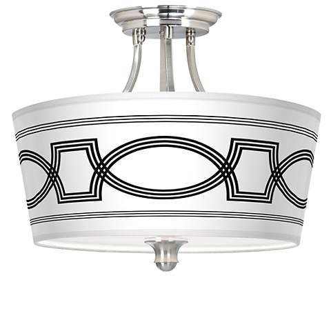 Concave Tapered Drum Giclee Ceiling Light