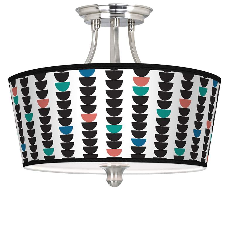 Semi-Dots Tapered Drum Giclee Ceiling Light