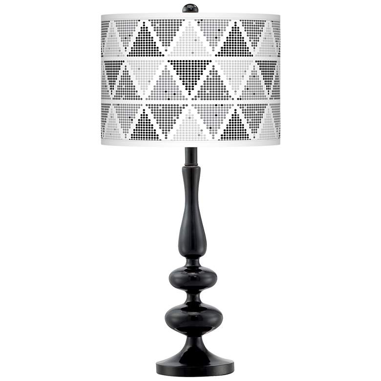Pointillism Giclee Paley Black Table Lamp