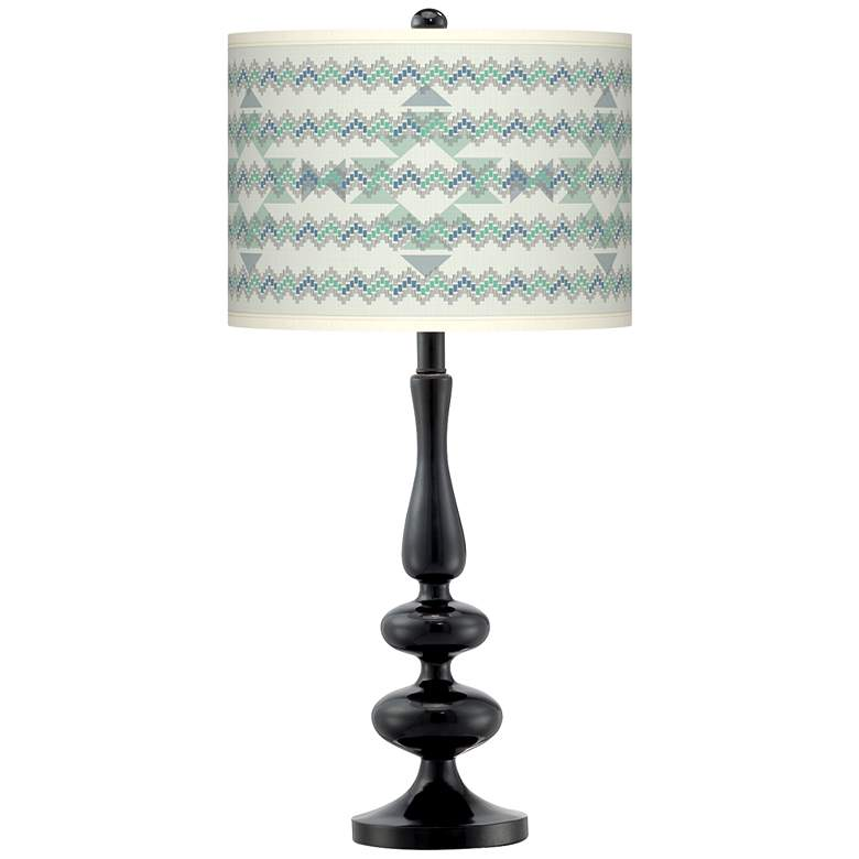 Triangular Stitch Giclee Paley Black Table Lamp