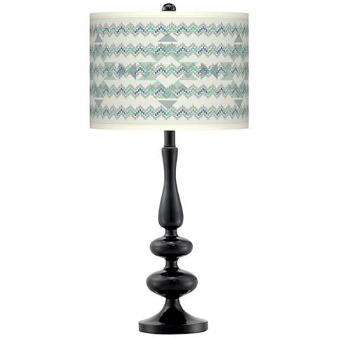 Triangular Stitch Giclee Paley Black Table Lamp