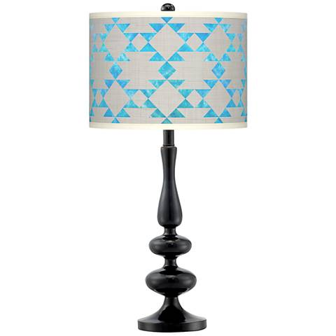 Desert Aquatic Giclee Paley Black Table Lamp