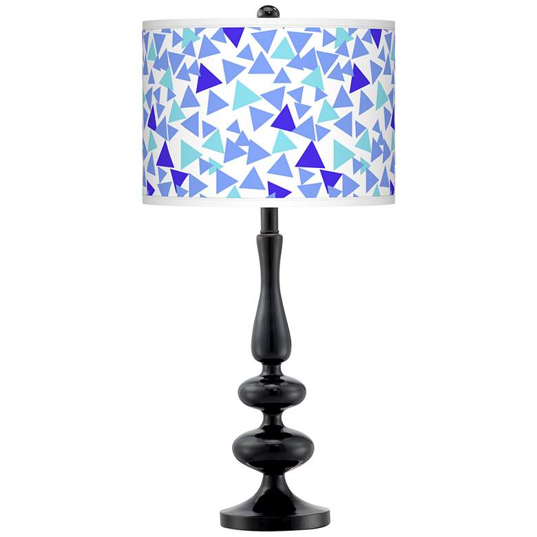 Geo Confetti Giclee Paley Black Table Lamp