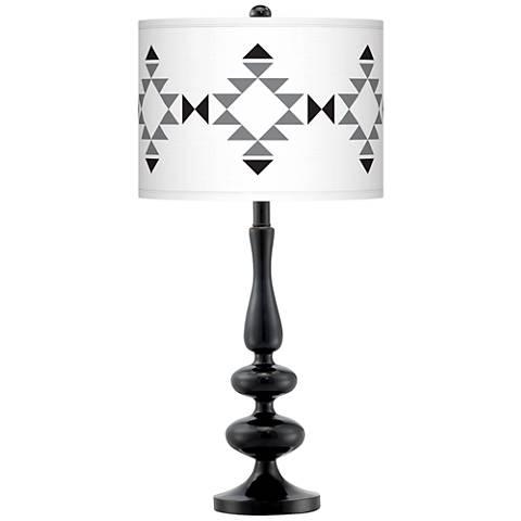 Desert Grayscale Giclee Paley Black Table Lamp