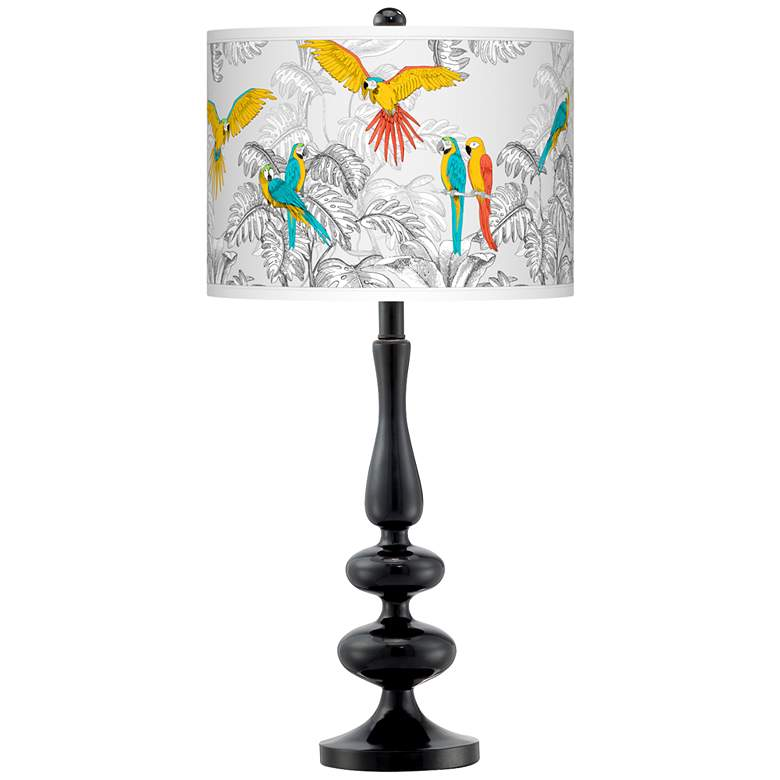 Macaw Jungle Giclee Paley Black Table Lamp
