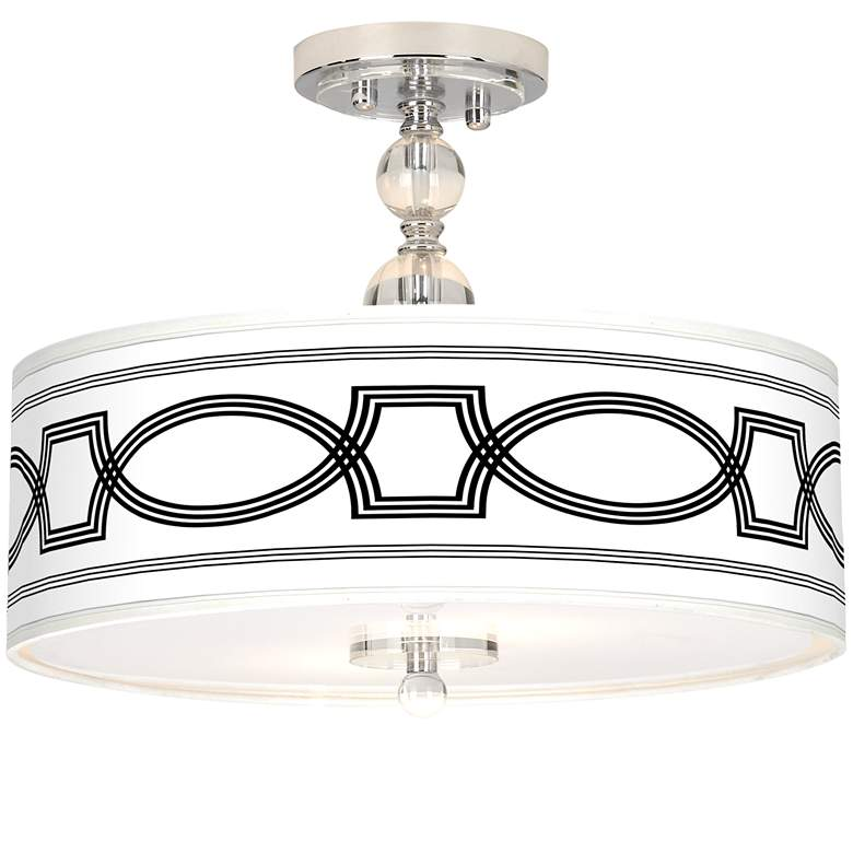 """Concave Giclee 16"""" Wide Semi-Flush Ceiling Light"""