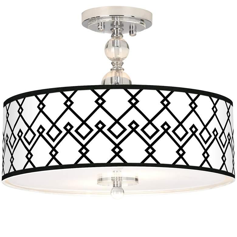"Diamond Chain Giclee 16"" Wide Semi-Flush Ceiling Light"