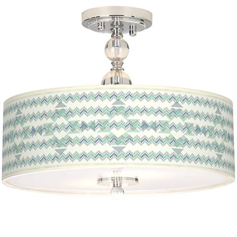 "Triangular Stitch Giclee 16"" Wide Semi-Flush Ceiling Light"