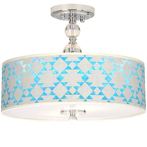"Desert Aquatic Giclee 16"" Wide Semi-Flush Ceiling Light"