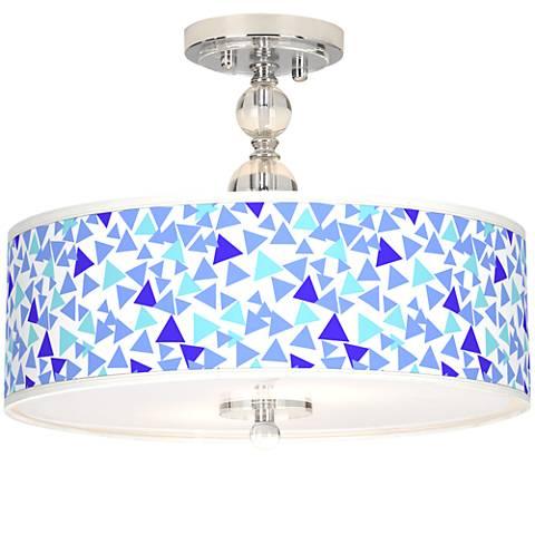 "Geo Confetti Giclee 16"" Wide Semi-Flush Ceiling Light"