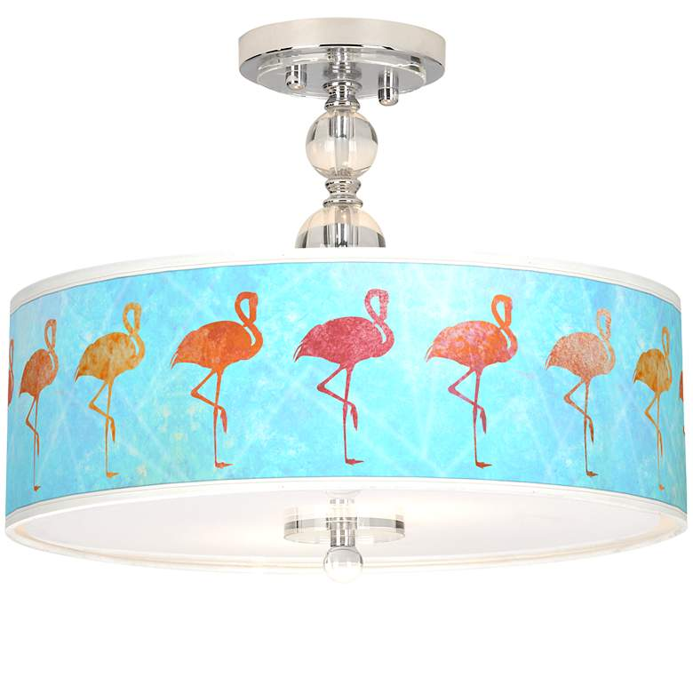 "Flamingo Shade Giclee 16"" Wide Semi-Flush Ceiling Light"