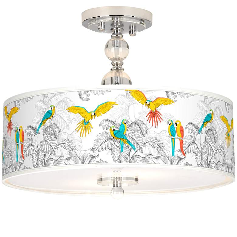 "Macaw Jungle Giclee 16"" Wide Semi-Flush Ceiling Light"