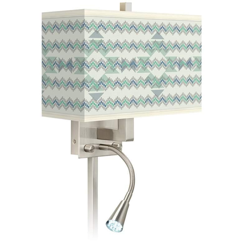 Triangular Stitch Giclee Glow LED Reading Light Plug-In Sconce