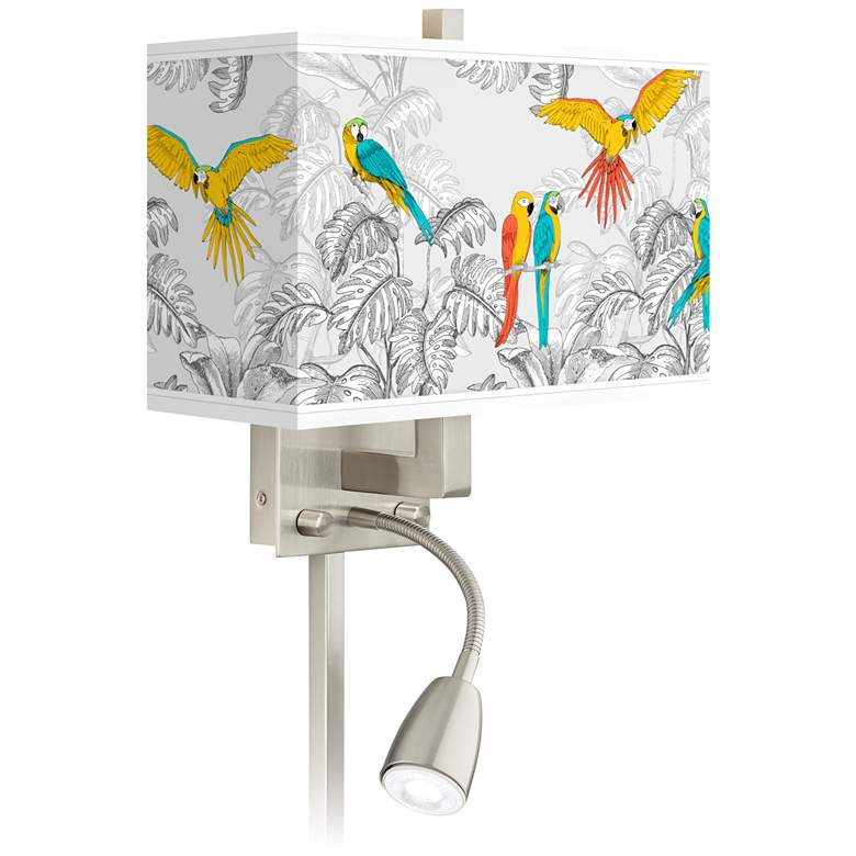Macaw Jungle Giclee Glow LED Reading Light Plug-In Sconce