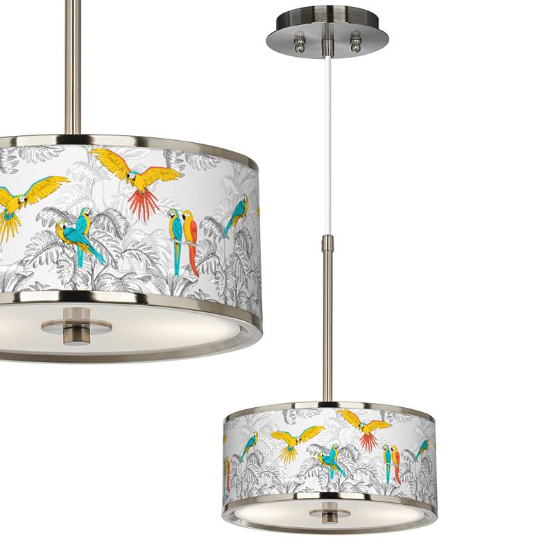 "Macaw Jungle Giclee Glow 10 1/4"" Wide Pendant Light"