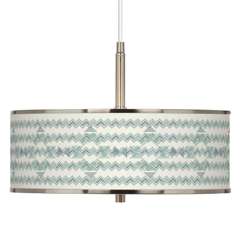 "Triangular Stitch Giclee Glow 16"" Wide Pendant Light"