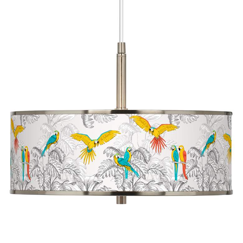 "Macaw Jungle Giclee Glow 16"" Wide Pendant Light"