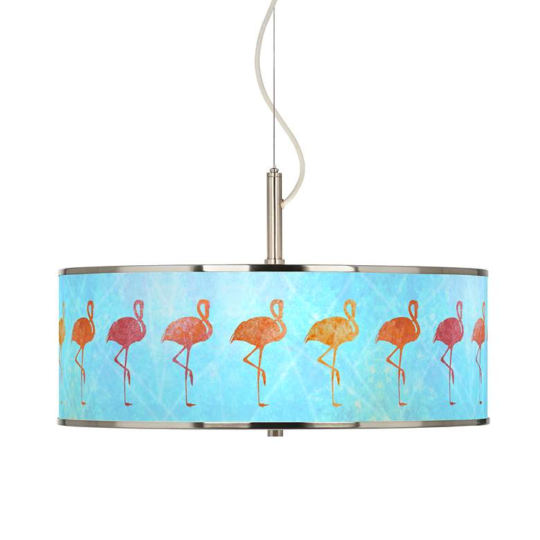 "Flamingo Shade Giclee Glow 20"" Wide Pendant Light"