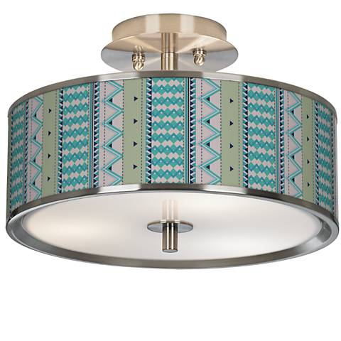"Geo Metrix Giclee Glow 14"" Wide Ceiling Light"