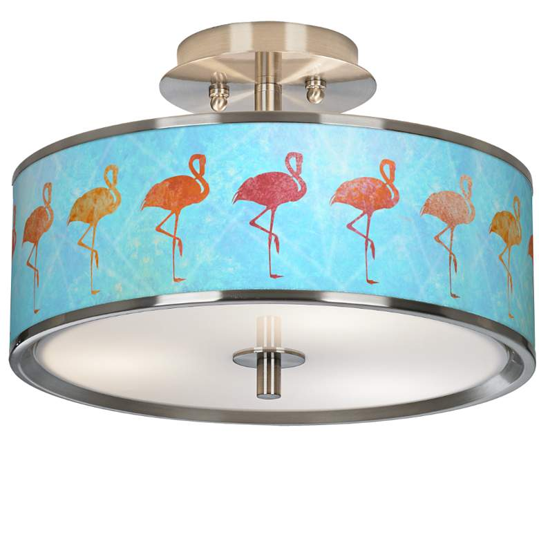 "Flamingo Shade Giclee Glow 14"" Wide Ceiling Light"