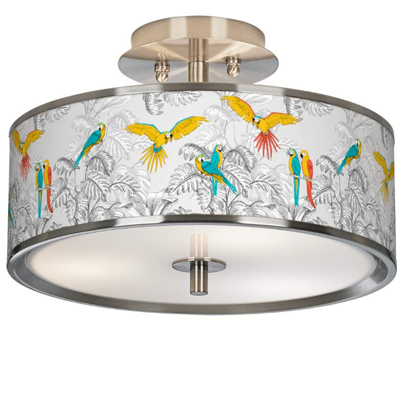"""Macaw Jungle Giclee Glow 14"""" Wide Ceiling Light"""