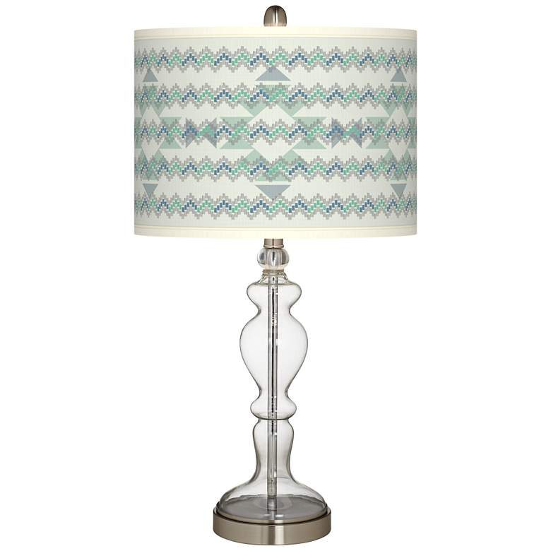 Triangular Stitch Giclee Apothecary Clear Glass Table Lamp
