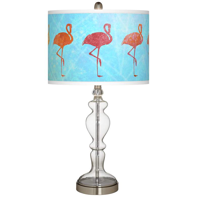 Flamingo Shade Giclee Apothecary Clear Glass Table Lamp