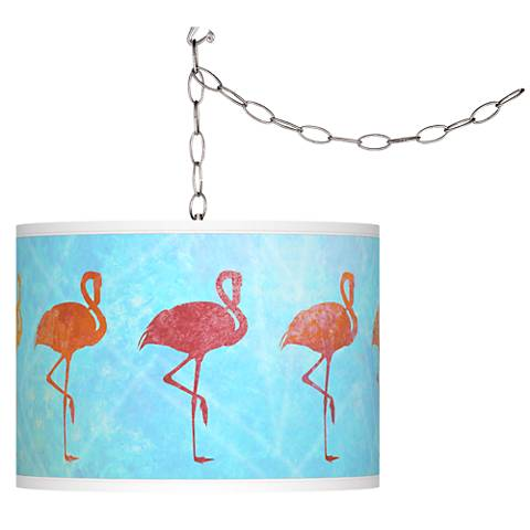 Flamingo Shade Giclee Glow Plug-In Swag Pendant