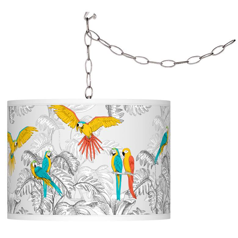 Macaw Jungle Giclee Glow Plug-In Swag Pendant