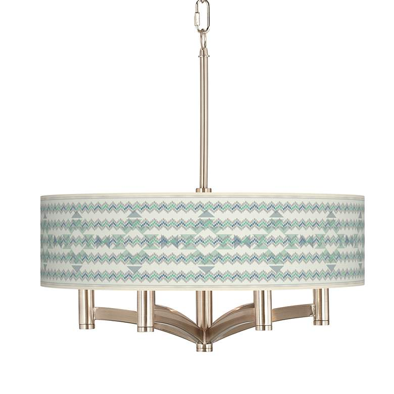 Triangular Stitch Ava 6-Light Nickel Pendant Chandelier