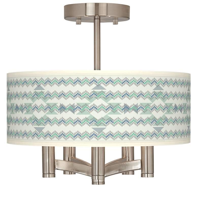 Triangular Stitch Ava 5-Light Nickel Ceiling Light