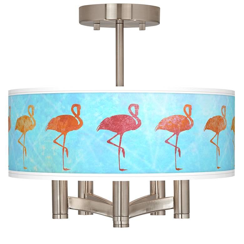 Flamingo Shade Ava 5-Light Nickel Ceiling Light