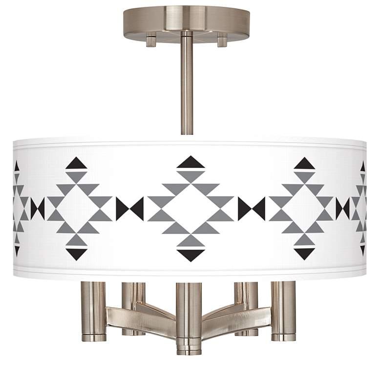 Desert Grayscale Ava 5-Light Nickel Ceiling Light