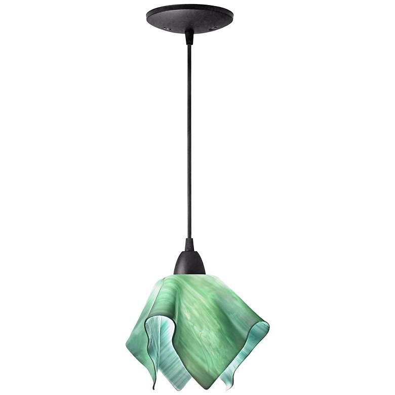 "Jezebel Radiance 8""W Seafoam Green Small Flame Mini Pendant"