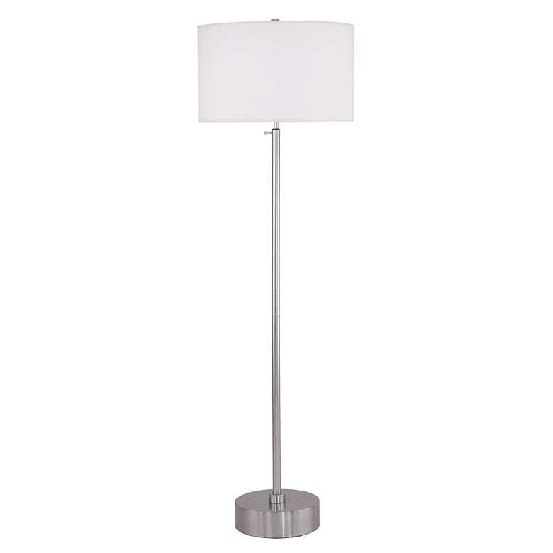 Lights Up! CanCan Nickel-White Shade Adjustable Floor Lamp
