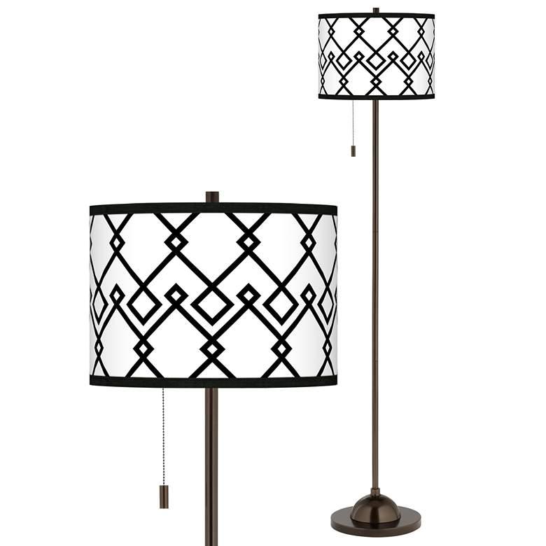 Diamond Chain Giclee Glow Bronze Club Floor Lamp