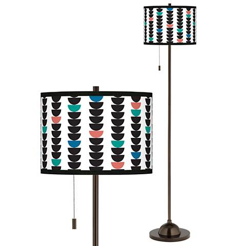 Semi-Dots Giclee Glow Bronze Club Floor Lamp