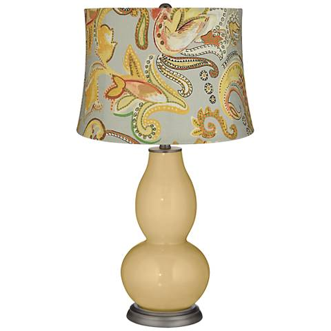Humble Gold Yellow Paisley Double Gourd Table Lamp