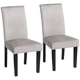 Dining Room Chairs Wood scarpa gray velvet armless dining chairs set of 2
