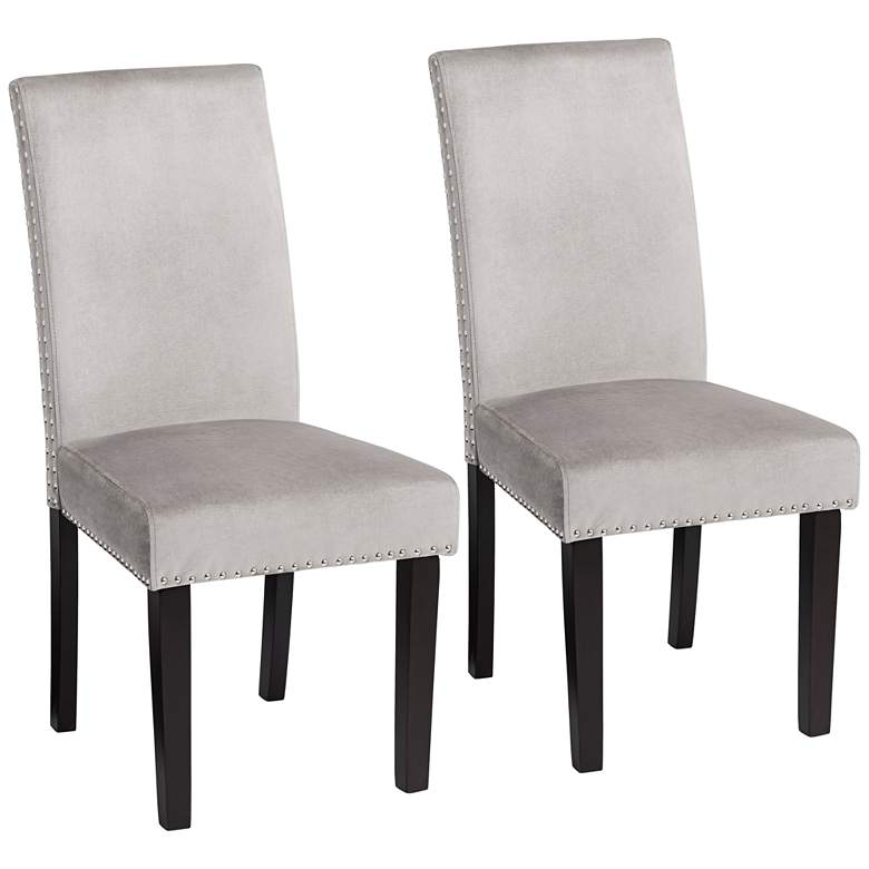 Scarpa Gray Velvet Armless Dining Chairs Set of 2