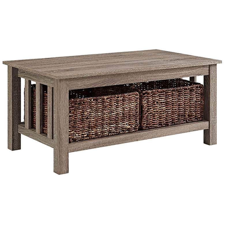 """Mission 40"""" Wide Gray Driftwood Storage Coffee Table"""
