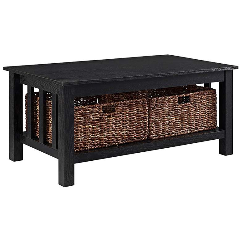 "Mission 40"" Wide Black Wood Storage Coffee Table"