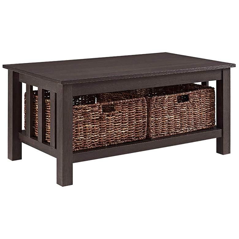 "Mission 40"" Wide Espresso Wood Storage Coffee Table"