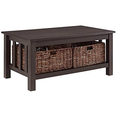 Mission Espresso Wood with Totes Storage Coffee Table