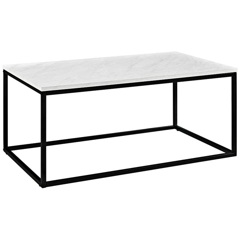 """Adeline 42"""" Wide Faux White Marble and Metal"""